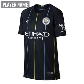 Nike Youth Manchester City Away Stadium Jersey '18-'19 (Dark Obsidian/White)