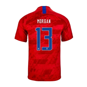 Nike USA 'MORGAN 13' Youth 2019 Away Stadium Jersey (Speed Red/Bright Blue)