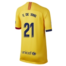 Nike Youth FC Barcelona 'F. DE JONG 21' Away Stadium Jersey '19-'20 (Varsity Maize)