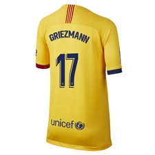 Nike Youth FC Barcelona 'GRIEZMANN 17' Away Stadium Jersey '19-'20 (Varsity Maize)