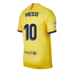 Nike Youth FC Barcelona 'MESSI 10' Away Stadium Jersey '19-'20 (Varsity Maize)