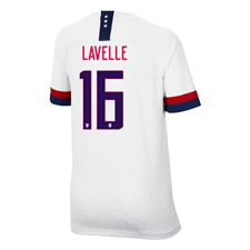 Nike USA 'LAVELLE 16' Youth 2019 Home Stadium 4-Star Jersey (White/Blue Void/University Red)