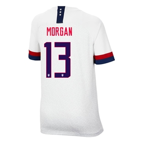 Nike USA 'MORGAN 13' Youth 2019 Home Stadium 4-Star Jersey (White/Blue Void/University Red)
