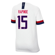 Nike USA 'RAPINOE 15' Youth 2019 Home Stadium 4-Star Jersey (White/Blue Void/University Red)