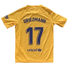 Nike Youth FC Barcelona 'GRIEZMANN 17' El Clasico Stadium Jersey '19-'20 (Varsity Maize/Deep Royal Blue)