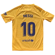 Nike Youth FC Barcelona 'MESSI 10' El Clasico Stadium Jersey '19-'20 (Varsity Maize/Deep Royal Blue)