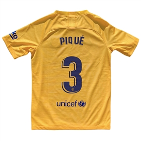 Nike Youth FC Barcelona 'PIQUE 3' El Clasico Stadium Jersey '19-'20 (Varsity Maize/Deep Royal Blue)