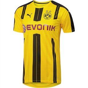 Puma Borussia Dortmund '16-'17 Youth Home Soccer Jersey (Cyber Yellow/Black)