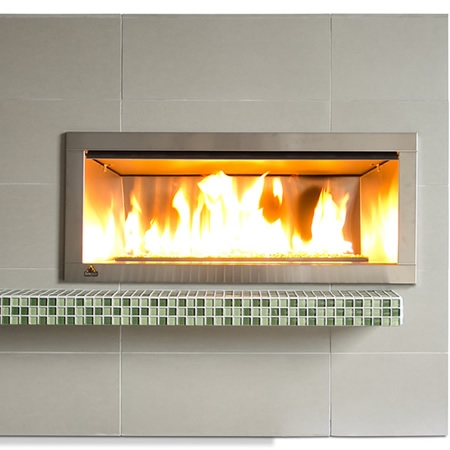 od42 outdoor linear fireplace with 2 faceplate