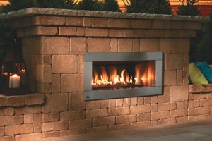 od424 outdoor linear fireplace with 4 faceplate