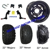 "10"" Black Steel Wagon Wheel, Tire and Jakes 6"" Lift Kit Combo"