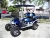 EZGO TXT Electric Blue & Silver Tribal Axe Golf Cart