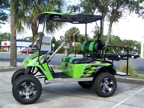 Golf Cart Flames Design Ideas: Ezgo Txt Gas Green Black