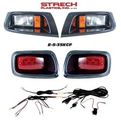 EZGO TXT Carbon Fiber Halogen Head & LED Tail Light Kit