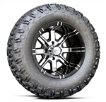 12x7 Aggressor Machined Finish with 23 Hammer Golf Cart Tire