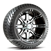 12x7 Aggressor Machined Finish with Low Profile Golf Cart Tire