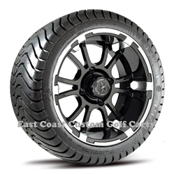 12x6.5 Sixer Machined Finish with Low Profile Golf Cart Tire