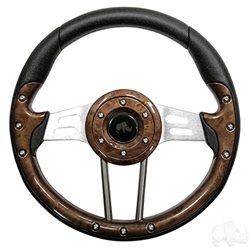 "13"" Aviator 4 Wood Grain Steering Wheel"