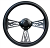 14 Black Flame Black Half Wrap Steering Wheel