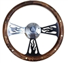 14 Inch Flame Pine Wood Half Wrap Steering Wheel