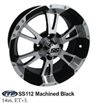 14x6 ITP Centered Black & Machined SS112 Wheel