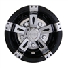 10 Inch Vegas Black & Chrome Wheel Cover Golf Cart Hub Cap