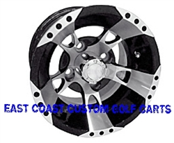 10x7 RX190 Machined & Black Golf Cart Wheel