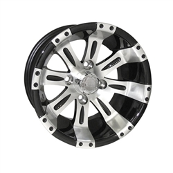 12x7 RHOX Vegas Machined & Black Golf Cart Wheel