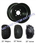 10x7 Black Steel Golf Cart Wheel with Your Choice of Tire Combo