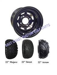 10x7 Black Wagon Golf Cart Wheel with Your Choice of Tire Combo