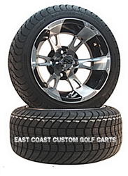 12x7 ITP SS 112 Machined Wheel with Low Profile Golf Cart Tire