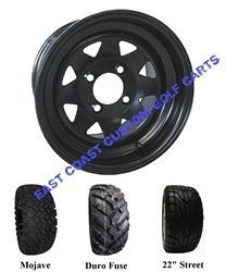 12x7 Black Wagon Steel Wheel with Your Choice of Lifted Tire