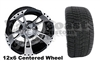 12x6 RX200 Centered Wheel with Low Profile Golf Cart Tire