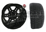 12x7 RX252 Black Wheel with Low Profile Golf Cart Tire