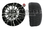 12x7 RX270 12 spoke Wheel with Low Profile Golf Cart Tire
