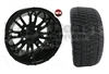 12x7 RX271 Black 12 spoke Wheel with Low Profile Golf Cart Tire