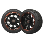 12x7 Transformer Red & Black Wheels with Low Profile Golf Cart Tire