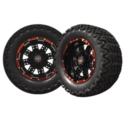 12x7 Transformer Red & Black Wheels with Predator AT Tires
