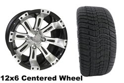 12x6 RX171 Centered  Vegas Wheel with Low Profile Golf Cart Tire