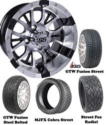 "14"" Diesel Machined & Black Wheels with Low Profile Golf Cart Tire"