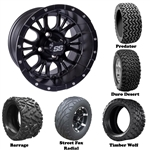 14x7 Diesel Matte Black Wheels with Lifted Golf Cart Tire