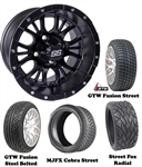 "14"" Diesel Matte Black Wheels with Low Profile Golf Cart Tire"