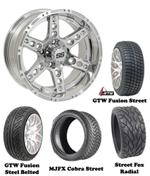 "14"" Chrome Dominator Wheels with Low Profile Golf Cart Tire"