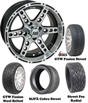 "14"" Dominator Machined & Black Wheels with Low Profile Golf Cart Tire"