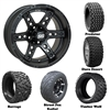 14x7 Dominator Matte Black Wheels with Lifted Golf Cart Tire
