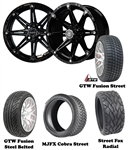 14x6 Centered Black Element Wheels with Low Profile Golf Cart Tire
