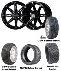 "14"" Black Element Wheels with Low Profile Golf Cart Tire"