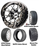 "14"" GTW Vortex Machined & Black Wheels with Low Profile Golf Cart Tire"