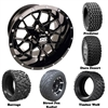 14x7 GTW Vortex Matte Black Wheels with Lifted Golf Cart Tire