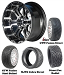 "14"" Omega Machined & Black Wheels with Low Profile Golf Cart Tire"
